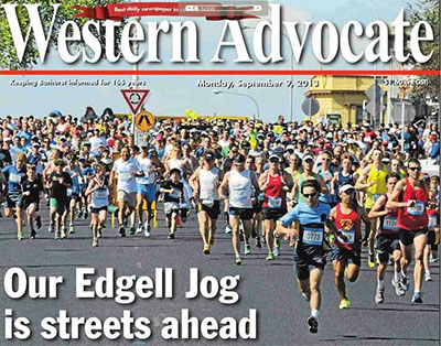 Front page Western Advocate 2013